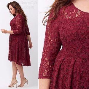 Maroon Lace Hi-low Dress